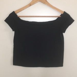 Pac Sun Basics Off the Shoulder Crop Top Black